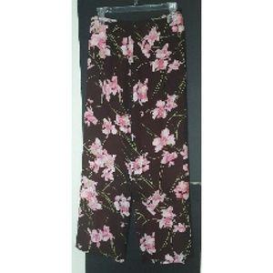 Etcetera 100% Silk Midi Skirt Brn/Pnk Floral Sz 6